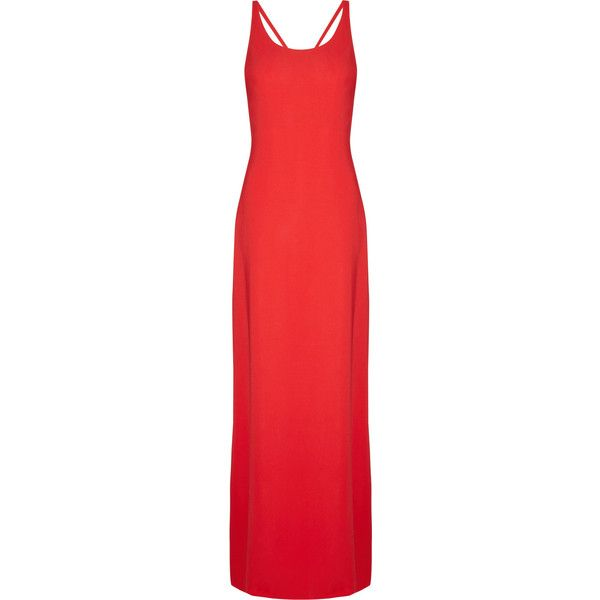 Calvin Klein Collection Liesel crepe gown (30.265 ARS) ❤ liked on Polyvore featuring dresses, gowns, vestidos, long dresses, robes, red evening dresses, red gown, red strappy dress, red criss cross back dress and calvin klein collection