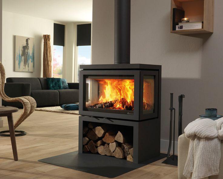 Pin Van Studio Binnen Op Stone Fireplace Houtkachel Haard Houtkachel Vrijstaande Open Haard
