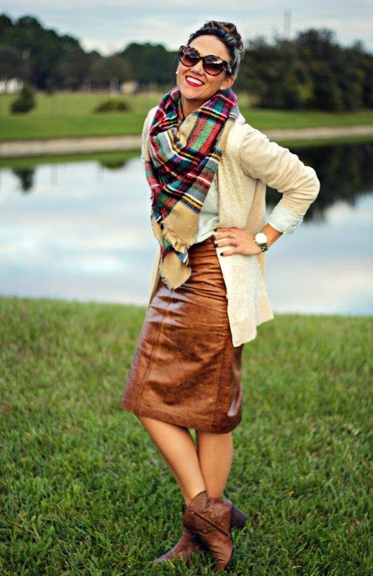 Tartan scarf via Zara  Sequin cardigan c/o Old Navy  Tommy Hilfiger leather skirt Similar here  CCorso Como boots  Ralph Lauren chambray shi...