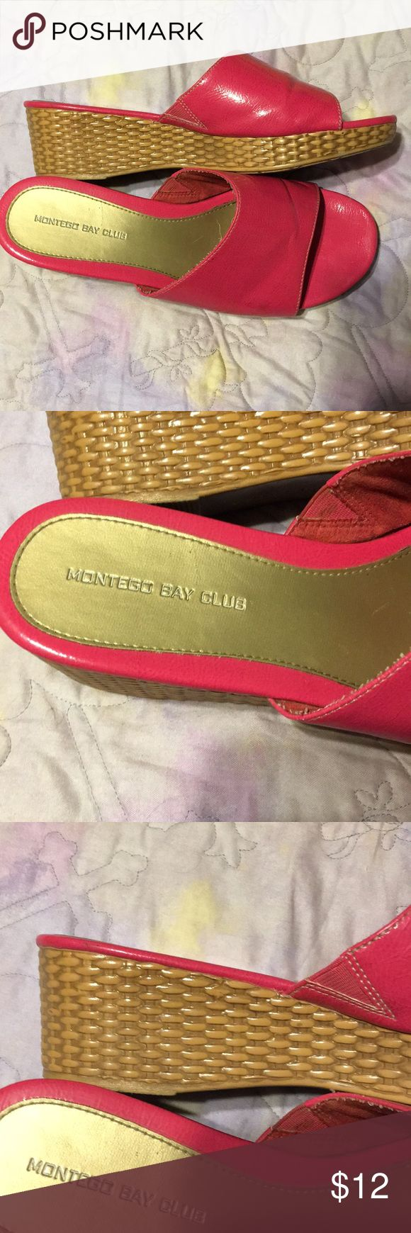 Hot pink heeled slide wedges size 10W These are hot pink open toed slides with 2 inch heels They are Montego Bay Club brand Size 10W The heels are basket braided look.  Very comfortable  Thanks for checking out my closet  Happy New Years 🎉 Montego Bay Club Shoes Wedges