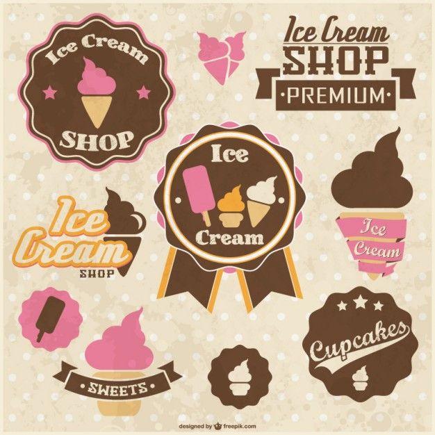 Retro stickers ice cream cupcakes design Free Vector