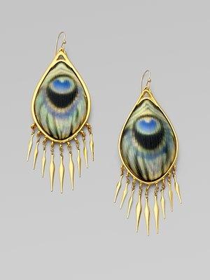 Alexis Bittar peacock earrings -- Hey, Alexis -- !!!
