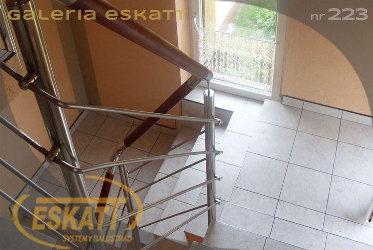 Stainless steel balustrade with horizontal filing and wood handrail #balustrade #eskatt #construction #stairs