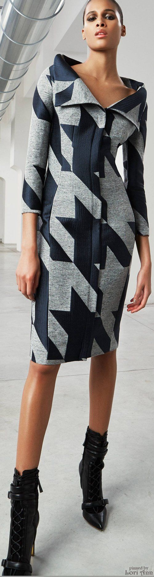 Antonio Berardi Pre-Fall 2015 A navy twill, patch worked/quilted with another fabric in the shape of a hounds tooth weave.