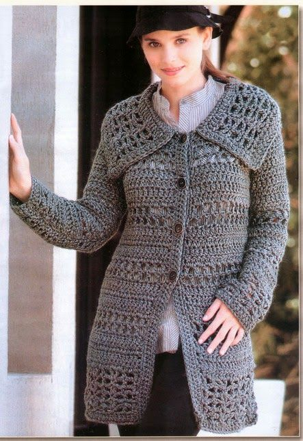 """10 Modelos de Casaco e blusa de crochê com gráfico para você se aquecer neste inverno! ~ """"Crochê da Mimi"""""""