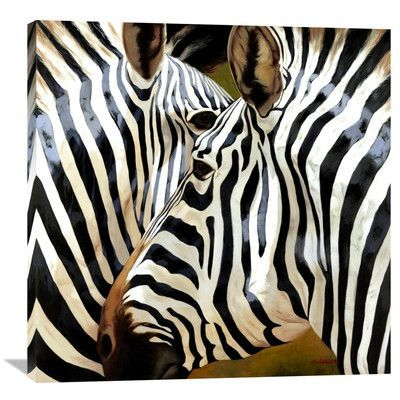 "Global Gallery 'Zebra Close-Up' by Arcobaleno Painting Print on Wrapped Canvas Size: 36"" H x 36"" W x 1.5"" D"