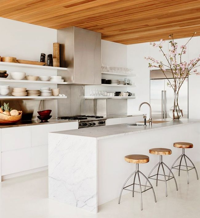 7 Kitchen Trends to Consider for your Renovations: Waterfall Island • on @SavvyHome