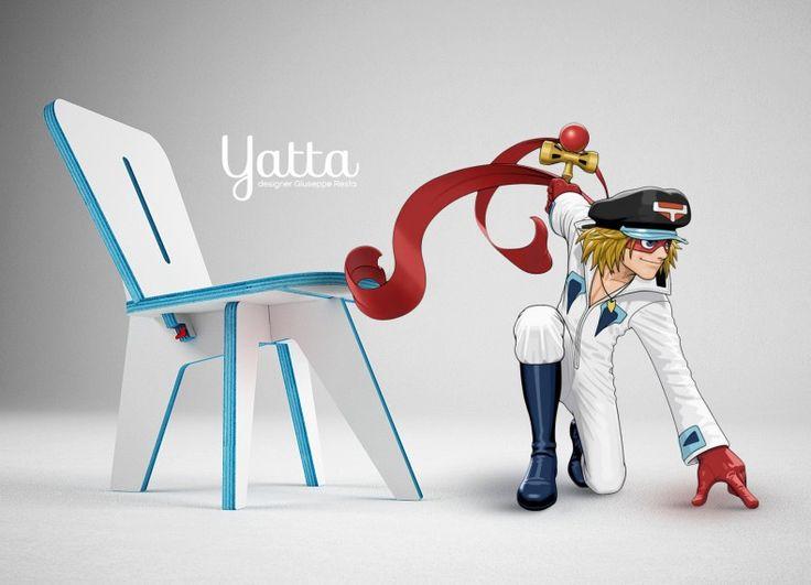 """Eroe della mia infanzia Yatta1, della serie Yattaman, era sempre impegnato nella lotta contro il male. Suo Padre era un designer di giocattoli e da lui ha ereditato la creatività, che si rivelerà vincente contro il Trio Drombo. Il progetto è """"dedicato"""" a questo personaggio ma non vuole """"assomigliargli"""", prendendo invece spunto dalle sue esigenze: facilità di trasporto, facilità di montaggio/smontaggio, considerato il fatto che Yatta1 viaggia sempre. Mentre alcuni dettagli cromatici e tecnici…"""