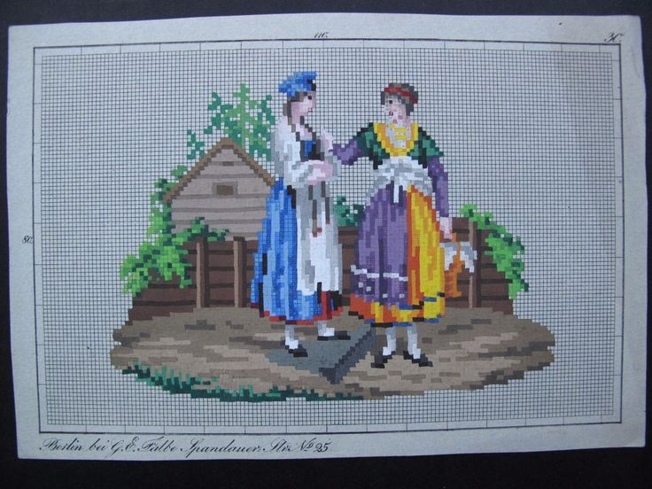 ORIGINAL 19th Century Hand painted BERLIN WOOLWORK  PATTERN by G. E. FALBE | Antiques, Fabric/Textiles, Embroidery | eBay!