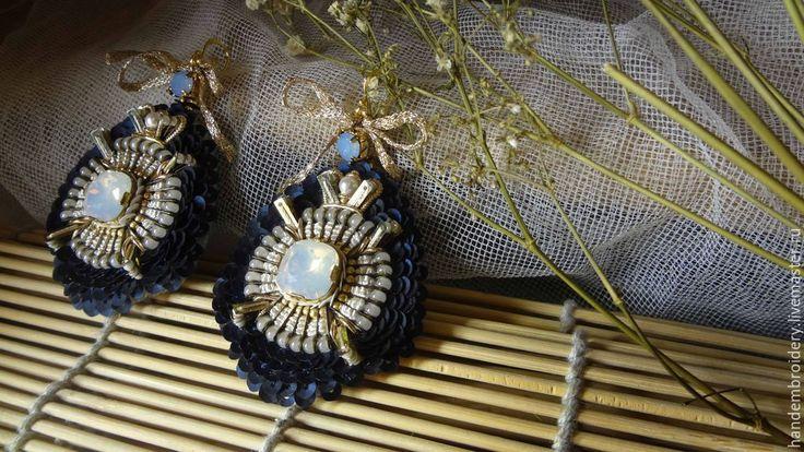 Купить Серьги 100115 - серьги ручной работы, авторская ручная работа, вышивка, вышивка ручная