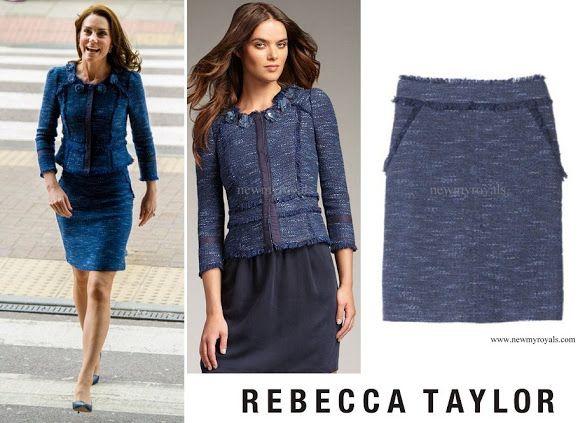 12-6-2017 prinses kate Rebecca Taylor Blue Sparkle Tweed Suit