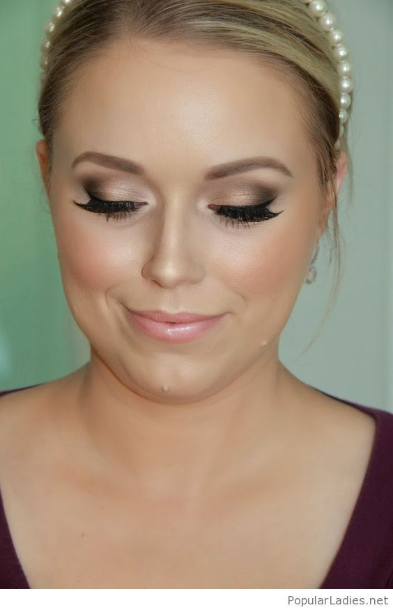 Bridal makeup and pearl head accessory
