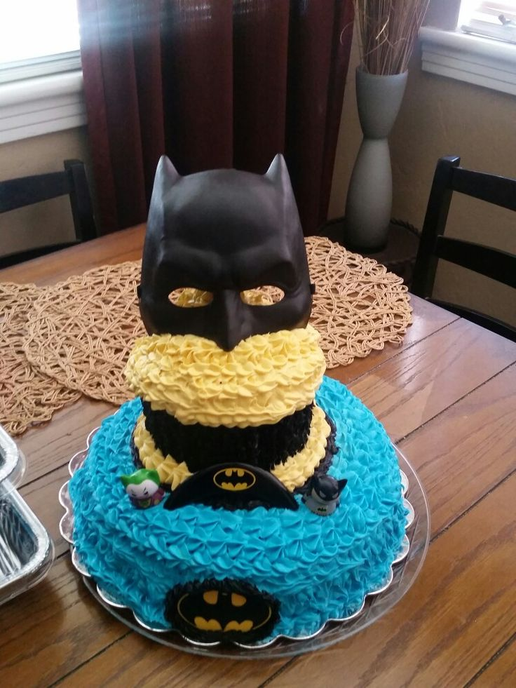 Giant batman cupcake cake