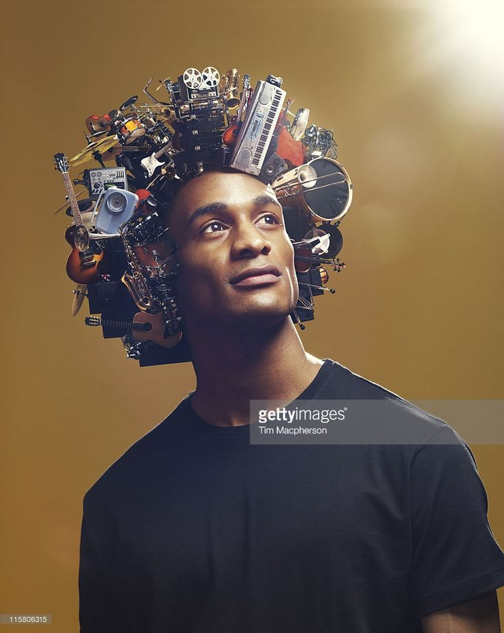 Man with afro made from Musical equipment
