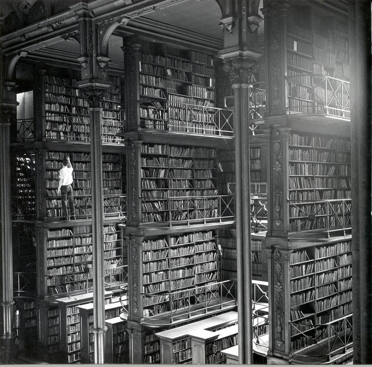 One of the large cast-iron book alcoves that lined the Main Hall.   15 Gorgeous Photos Of The Old Cincinnati Library