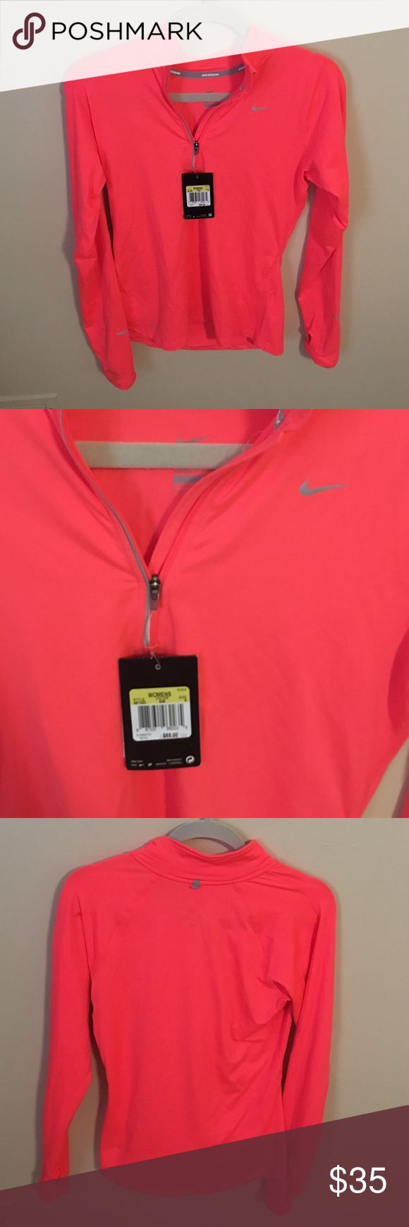 BRAND NEW Coral/Orange/Pink Nike Quarter Zip In perfect condition & never worn, this top is extremely soft and perfect for an athletic look! Nike Tops