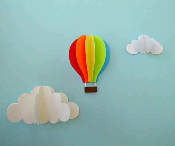 NURSERY DECOR:: WALL ART ~~ The rainbow colors really stand out with the fan-like spread of each color. Adore it!  ---  Hot Air Balloon Wall Decal Paper Wall Art Wall by goshandgolly @Etsy
