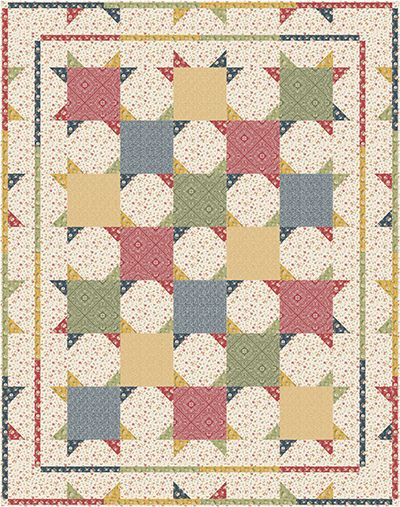 "Check out our FREE ""Country Squares"" quilt pattern using the collection, ""Bandana Florals"" by Dover Hill Studio for Benartex. Designed by Stitched Together Studios. Finished size: 67"" x 85""."