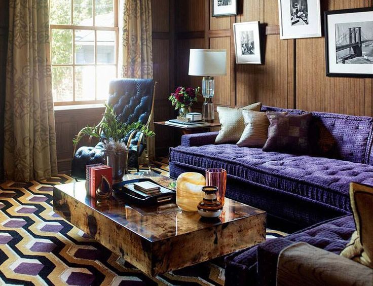 Purple and orange living room with a mix of modern and classic styles. #purple #orange #sofa #livingroom #modern #classic #style