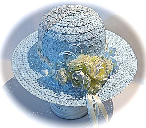 Blue Flower Girl Hat Easter Bonnet Tea Party Hats Sun Hats Etsy Tea Party Hats Girl With Hat Easter Bonnet