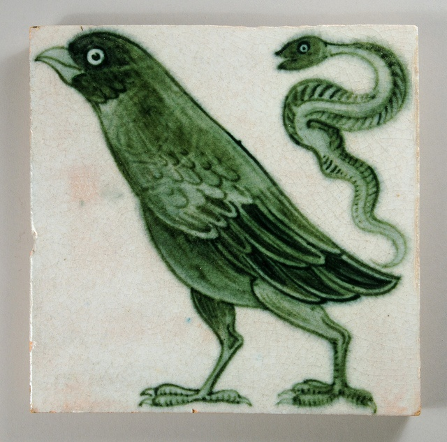 Bird and snake tile, William De Morgan, 1882-88