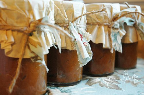 Use brown coffee filters to wrap bottles of homemade pumpkin butter or mini loaves of bread.  Secure with festive fabric, ribbon or string.