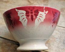 Rare antique français bol à café motif papillon, bol à café au lait par badonviller fin du XIXe siècle, papillon de minerai de fer