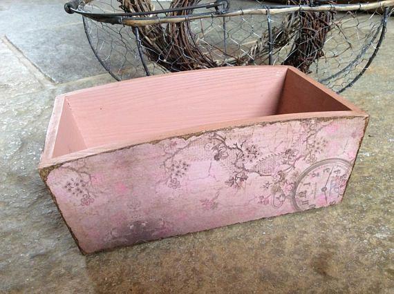 Decoupage box wooden pink box rustic box vintage style