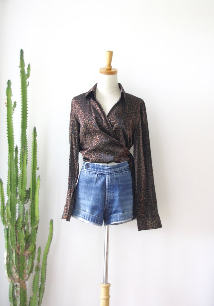 90s leopard print wrap shirt. Cropped Sparkly wrap shirt. Chocolate animal print shirt. Romantic wrap shirt. Witchy woman. Cross over shirt by ForestHillTradingCo on Etsy