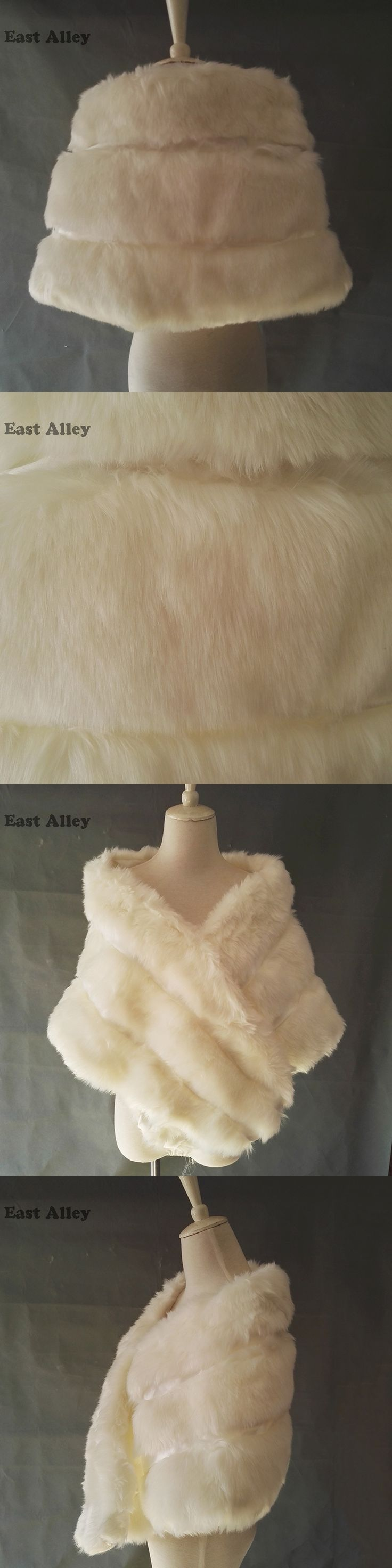 New Grey Pink Ivory Women's Bridal Wedding Faux Fur Shawl Cape Stole Wrap Shrug Coat