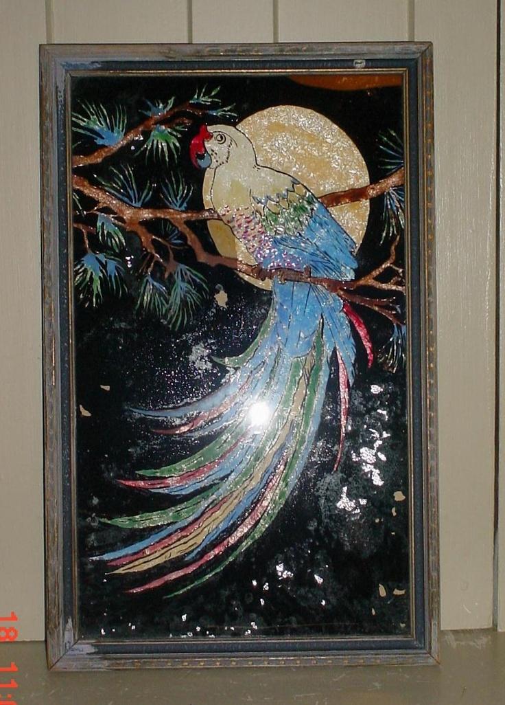 Vintage Parrot Reverse Painting Foil Art Large 22 Quot X 14 Quot