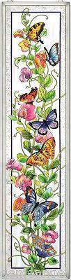 BUTTERFLIES-SWEET-PEAS-BOTANICAL-9x40-ART-GLASS-WINDOW-PANEL-SALE