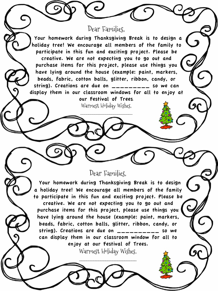 Festival of Trees parent letter Letter to parents
