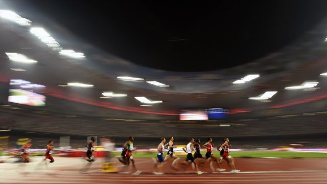 Athletes compete in the men's 1500 metres final during the 15th IAAF World Championships at the National Stadium in Beijing