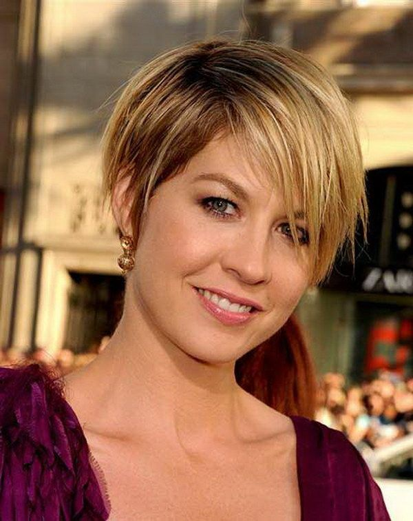 Short Edgy Pixie Haircut with Bangs for Round Face.