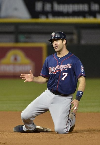 Joe Mauer #7 of the Minnesota Twins reacts after he was caught stealing during the sixth inning against the Chicago White Sox at U.S. Cellular Field on September 3, 2012 in Chicago, Illinois