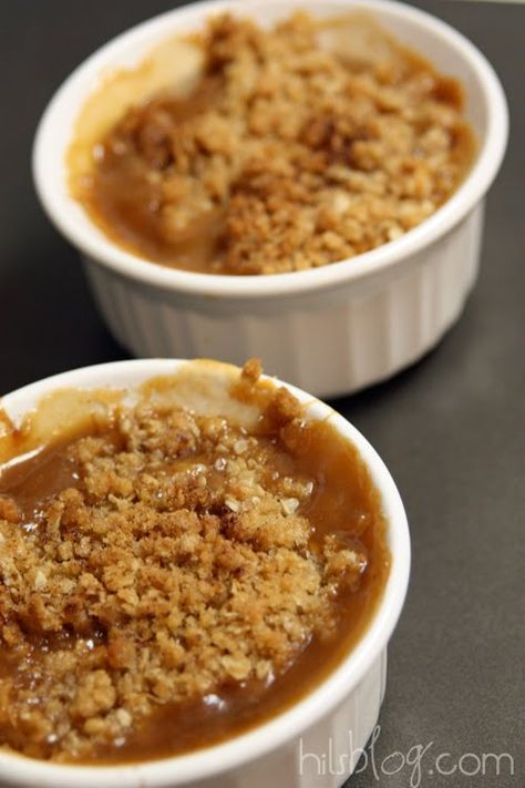 caramel apple crisp for two--apples, butter, flour, brown sugar, oats, cinnamon and caramel topping.