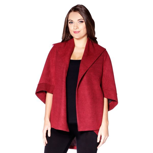 A textured woven open jacket featuring a shawl collar, a cocoon silhouette, and short dolman sleeves.  Content: 50% Polyester, 50% Acrylic  Fit: Relaxed