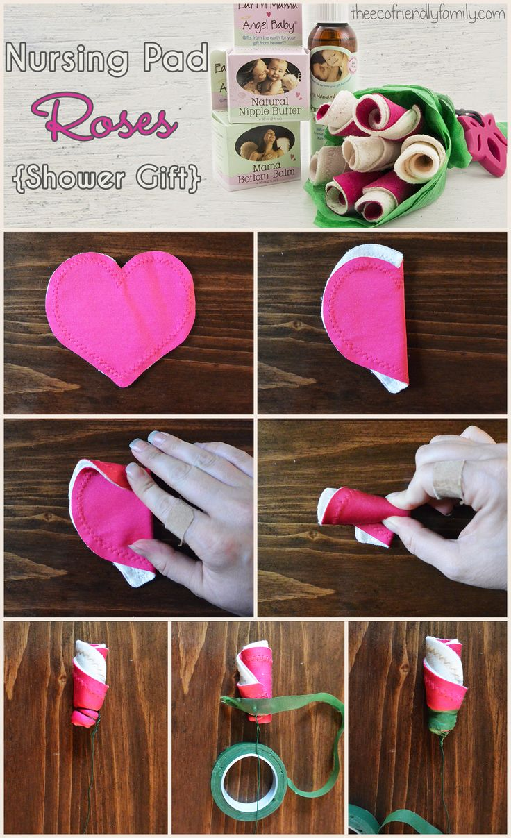 """This """"rose"""" bouquet made out of reusable nursing pads adds a little style to function. Add a few breastfeeding must-haves and you have a perfect gift!"""