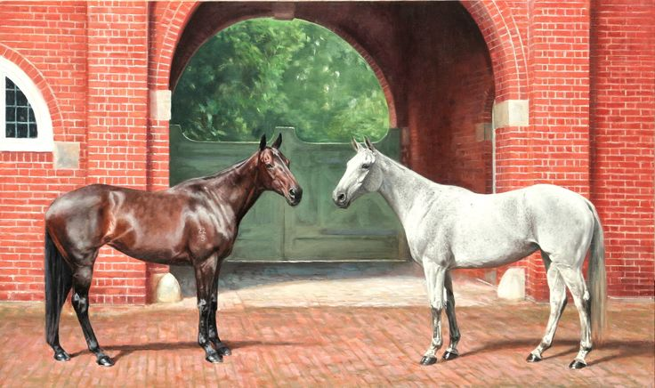 Commissioned portrait of Tristan Phillimores's ponies, Tiffany and Biddy, set in the beautiful stable muse of Coppid Hall, Henley-on-Thames, England. Oil on canvas