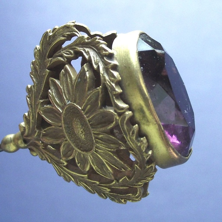 Victorian Hatpin Sunflowers & Purple Stone