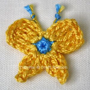 Crochet | Pattern | Tutorial | Butterfly, Flower & Leaf | Free Pattern & Tutorial at CraftPassion.com