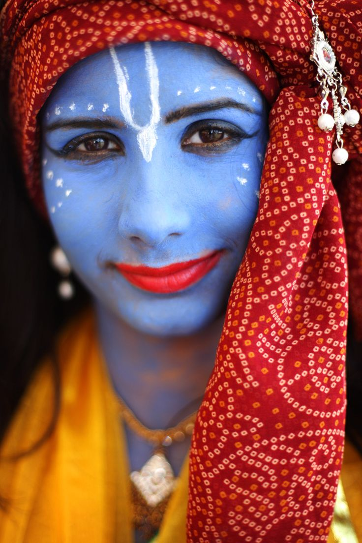 Faces of India - Hindu devotees throughout the world celebrate Janmashtami, which marks the birth of Hindu God Lord Krishna.  Pictured here is a girl dressed as Krishna during the celebration at Bhaktivedanta Manor.