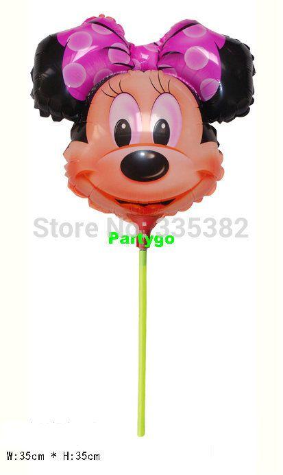 Мультфильм форма минни глава фольги воздушный шар с палки для день рождения украшения мультфильм воздушные шары 35*35 см