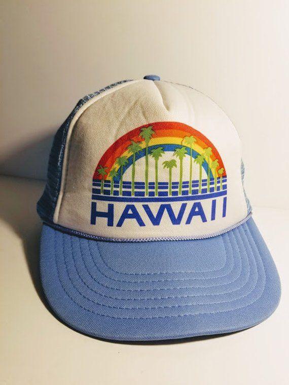 5ae50520598 Vintage 1980 s Unisex Hawaii Rainbow Palm Tree Adjustable Snap-back Trucker  Hat