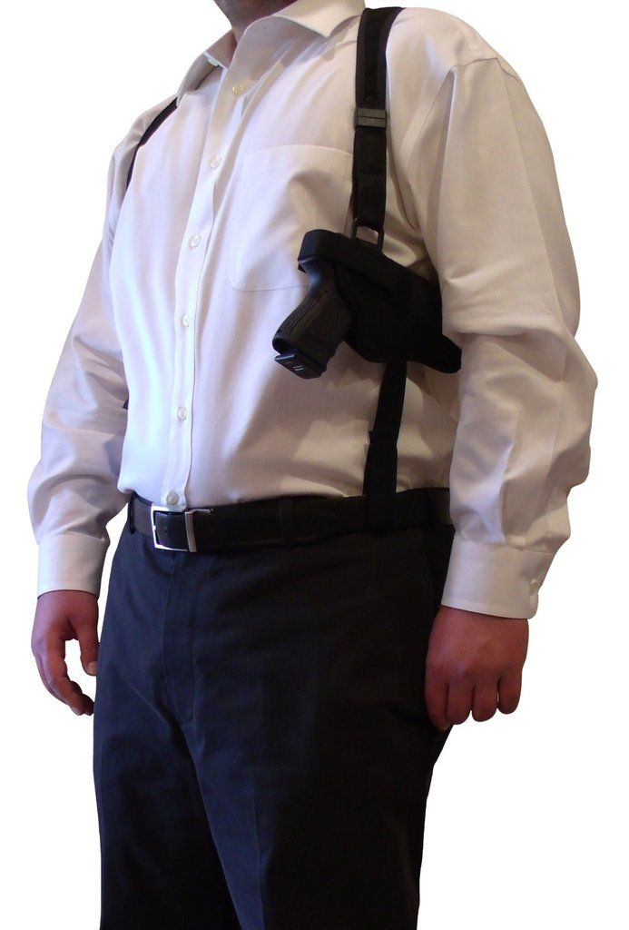Ambidextrous Horizontal Tactical Shoulder Holster with Double Magazine Holder, Black