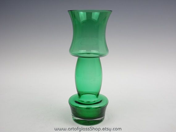 "11"" tall Riihimaki green glass vase"