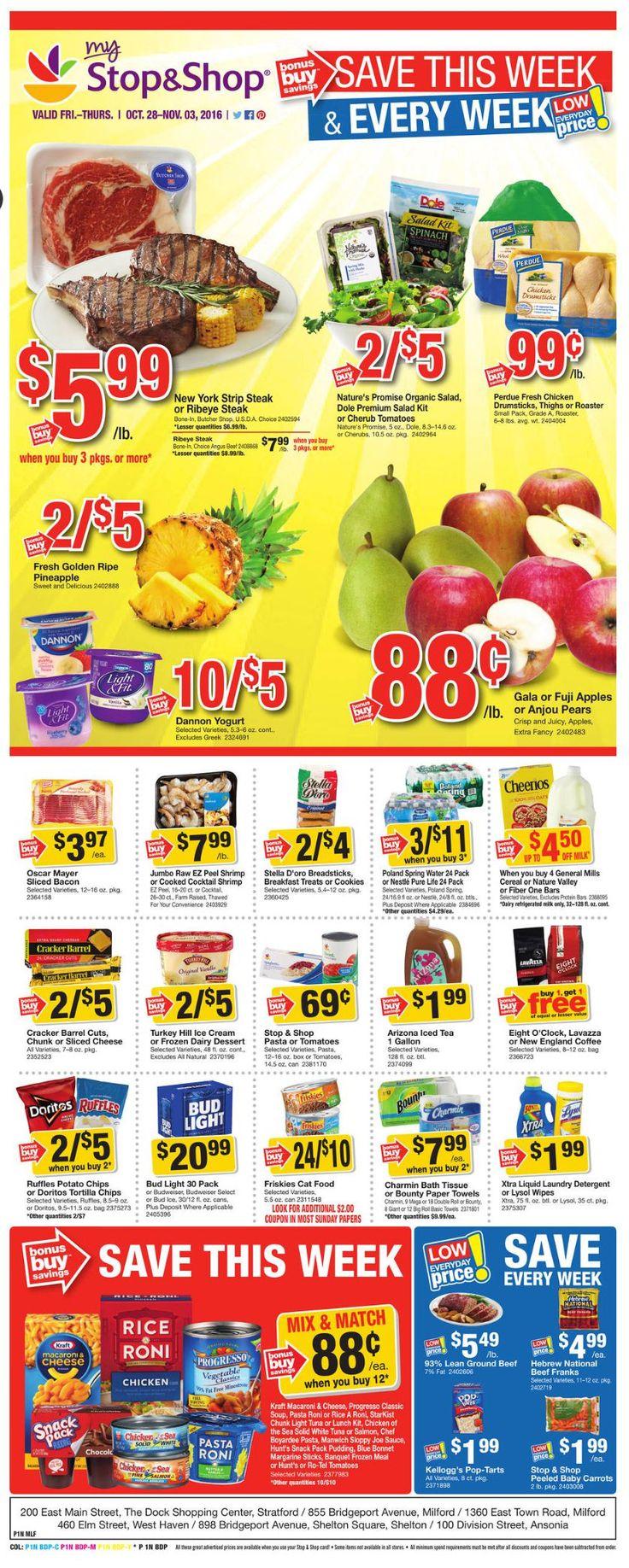 Stop and Shop Circular October 28 - November 3, 2016 - http://www.olcatalog.com/grocery/stop-and-shop-circular.html