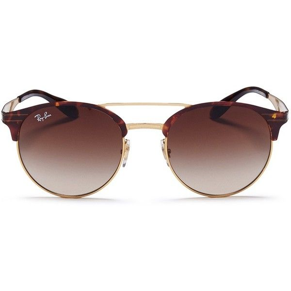 Ray-Ban 'RB3545' tortoiseshell effect round browline sunglasses (£160) ❤ liked on Polyvore featuring accessories, eyewear, sunglasses, brown, round tortoiseshell sunglasses, rounded sunglasses, brown sunglasses, sports sunglasses and retro round glasses
