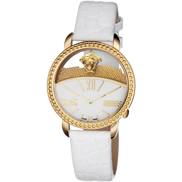 Versace Watches Women's Krios Strap IP Watch - White (2.270 BRL) ❤ liked on Polyvore featuring jewelry, watches, white, dial watches, see through watches, white gold jewelry, transparent watches and gold wrist watch